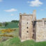 A side view of Crichton Castle captured from a drone