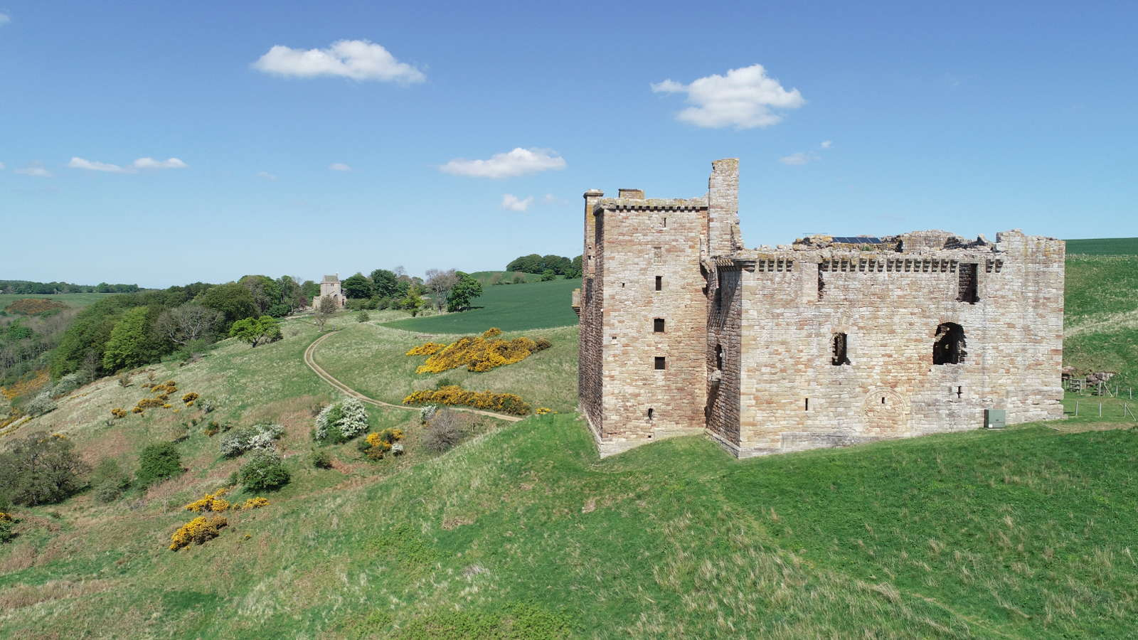 Aerial image of an historic structure - Crichton Castle