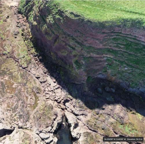 A 3D model of a cliff face, created by a drone survey