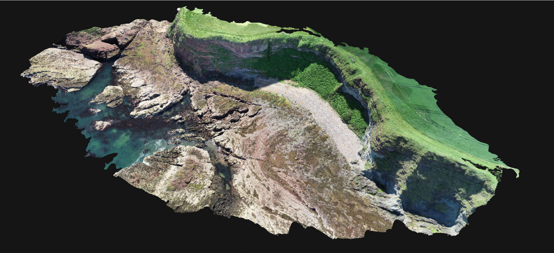 A 3D mesh model of a cliff created in Pix4D