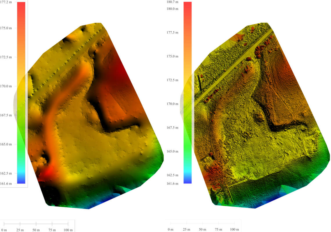 A Digital Terrain Model alongside a Digital Surface Model created in Pix4D