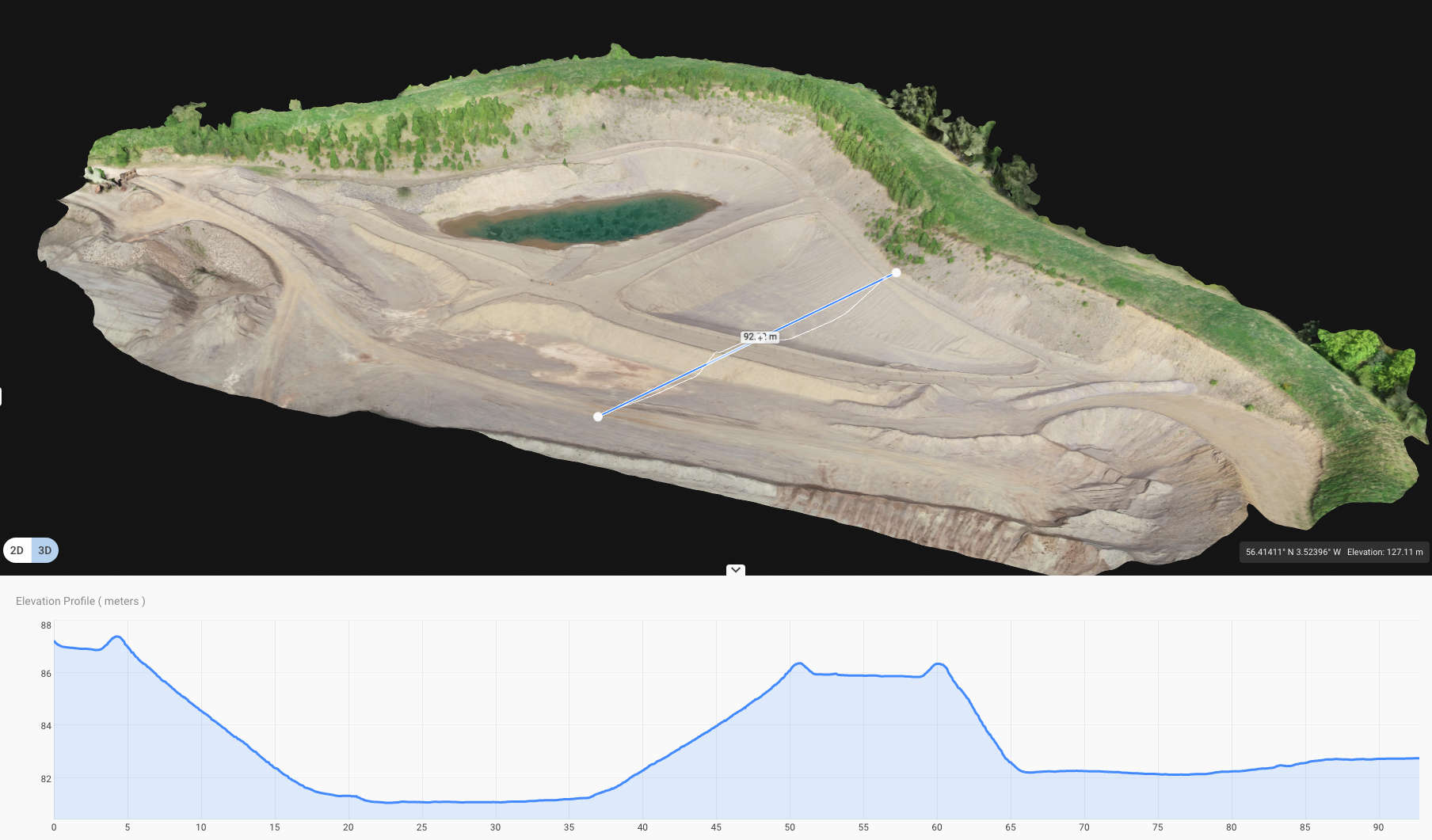 a 3D model of a quarry showing a selected elevation profile