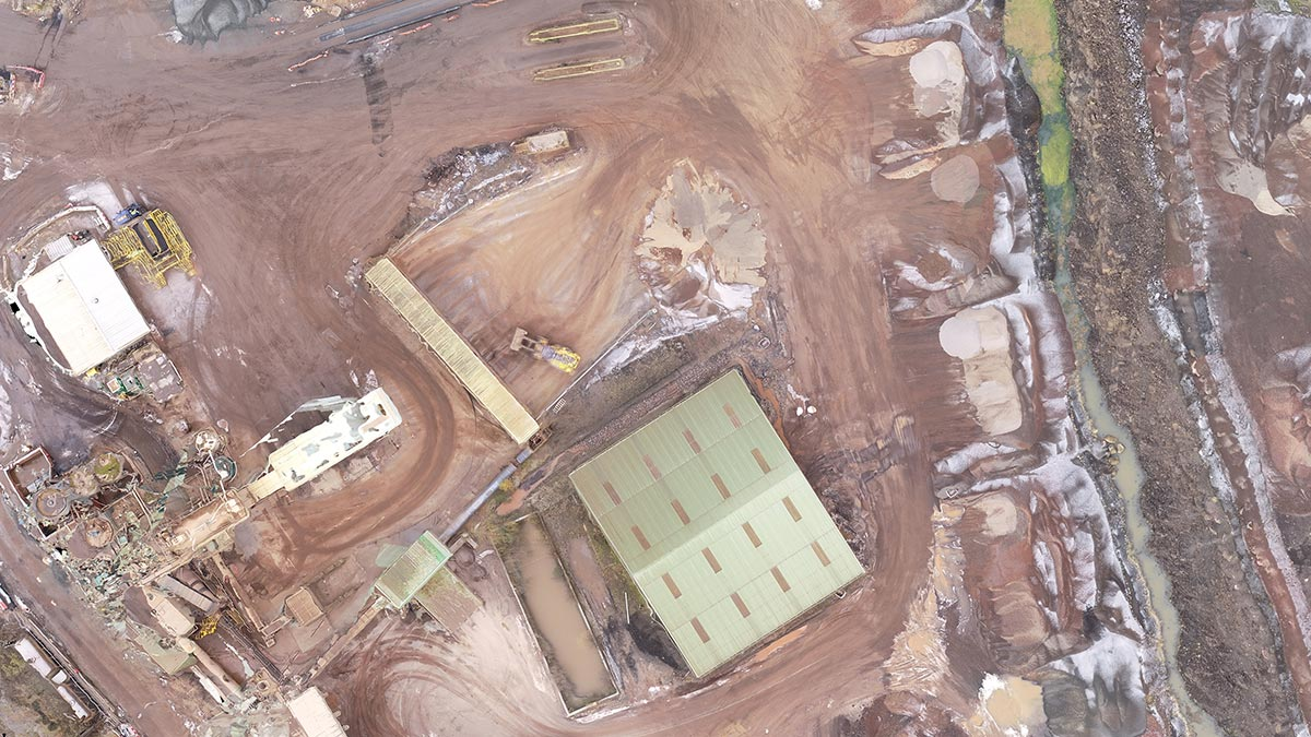 Aerial stockpile survey at a quarry in Scotland