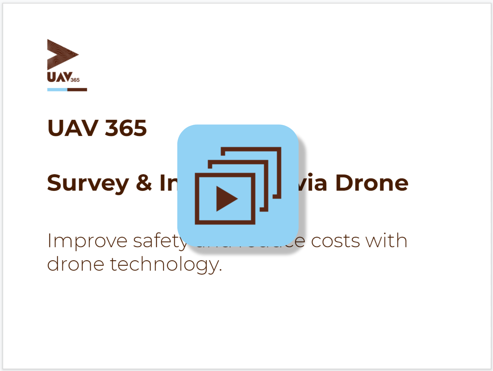 image shows the first page of a presentation on UAV 365 services